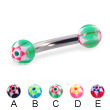 Curved barbell with acrylic star balls, 10 ga