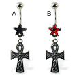 Belly ring with star and dangling ankh