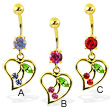Gold Tone belly ring with dangling heart and cherry