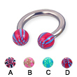 Acrylic checkered ball titanium horseshoe barbell, 10 ga