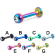 Titanium anodized jeweled labret, 12 ga