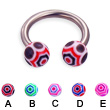 Web ball titanium horseshoe barbell, 12 ga
