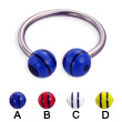 Titanium circular barbell with double striped balls, 14 ga