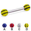 Straight barbell with double striped balls, 12 ga
