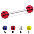 Straight barbell with double striped balls, 14 ga
