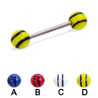 Titanium straight barbell with double striped balls, 16 ga