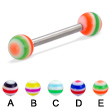 Straight barbell with circle balls, 12 ga