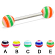 Straight barbell with circle balls, 14 ga