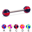 Titanium straight barbell with balloon balls, 14 ga