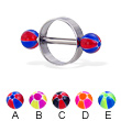 Nipple ring with balloon balls, 14 ga or 12 ga