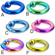 Titanium anodized captive bead ring, 6 ga