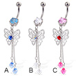Belly button ring with dangling butterfly and two gems on chains