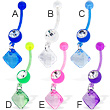 Jeweled bioplast belly button ring with dangling square gem