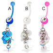 Jeweled bioplast belly button ring with dangle