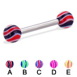 Wave ball straight barbell, 12 ga