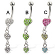 Three jeweled hearts belly button ring