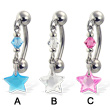 Reversed belly button ring with dangling star-shaped stone