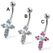 Jeweled cross navel ring
