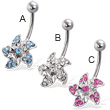 Jeweled flower belly button ring