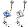 Belly button ring with big gem and two dolphins