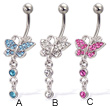 Jeweled butterfly navel ring with two dangling gems