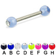 Acrylic ball with stone titanium straight barbell, 12ga