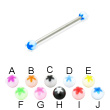 Long barbell (industrial barbell) with acrylic flower balls, 12 ga