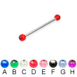 Long barbell (industrial barbell) with acrylic jeweled balls, 12 ga
