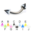 Acrylic flower cone titanium curved barbell, 12 ga