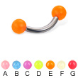 Glow-in-the-dark ball titanium curved barbell, 12 ga