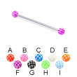 Long barbell (industrial barbell) with checkered balls, 14 ga