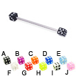 Long barbell (industrial barbell) with acrylic dice, 14 ga