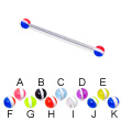 Long barbell (industrial barbell) with striped balls, 14 ga