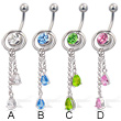 2-in-1 belly button jewelry with slide-off ring and two teardrops on dangles