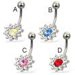Jeweled belly button ring with colored pointed center stone
