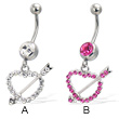 Belly button ring with dangling jeweled heart and arrow