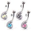 Belly button ring with elegant jeweled charm and pointed stone