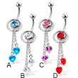 Belly button ring with ring and two dangling heart-shaped stones