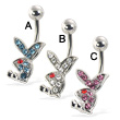 Belly button ring with jeweled playboy bunny
