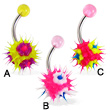 Silicone koosh ball with dots belly button ring