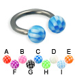 Checkered ball titanium circular barbell, 12 ga
