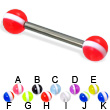 Striped ball titanium straight barbell, 12 ga