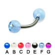 Single Acrylic Jeweled Ball Titanium Curved Barbell, 14 Ga
