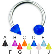 UV ball and cone titanium circular barbell, 14 ga