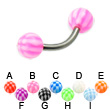 Checkered ball titanium curved barbell, 14 ga
