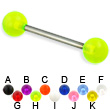 UV ball titanium straight barbell, 14 ga