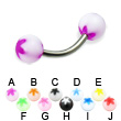 Titanium curved barbell with acrylic flower balls, 14 ga