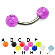 Glitter ball titanium curved barbell, 14 ga