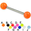 Glitter ball titanium straight barbell, 14 ga
