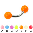 Glow-in-the-dark titanium curved barbell, 14 ga